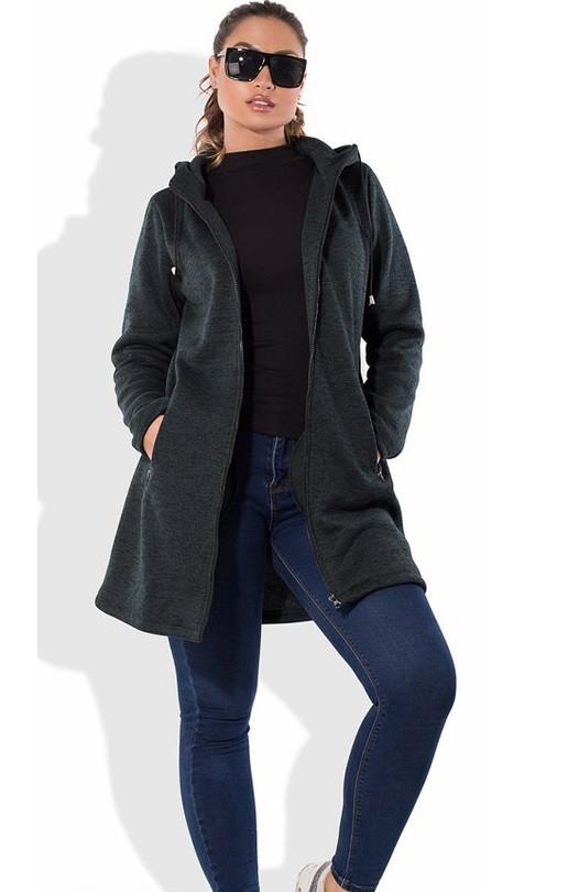 Кардиган пальто темно зеленый на молнии размеры от XL 5054