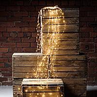 """Гирлянда """"Конский хвост"""" 200 LED: 10 линий по 2 м, 20 диодов/ нить, цвет - тёпло-белый, динамический режим, фото 1"""