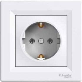 Розетка з заземлюючим контактом з защ.шт. Asfora  Біла Schneider Electric, фото 2