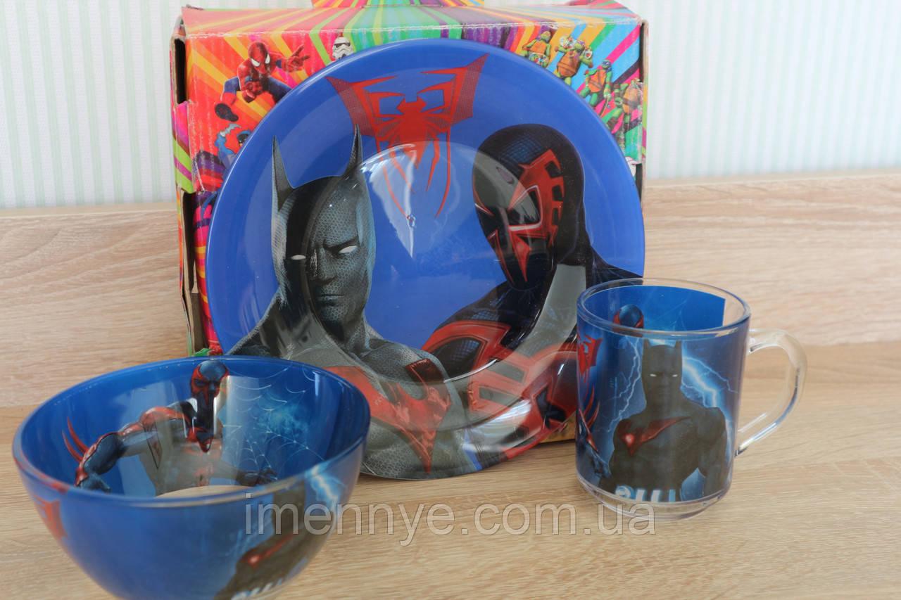 Крутой набор посуды Бетмен на подарок ребенку