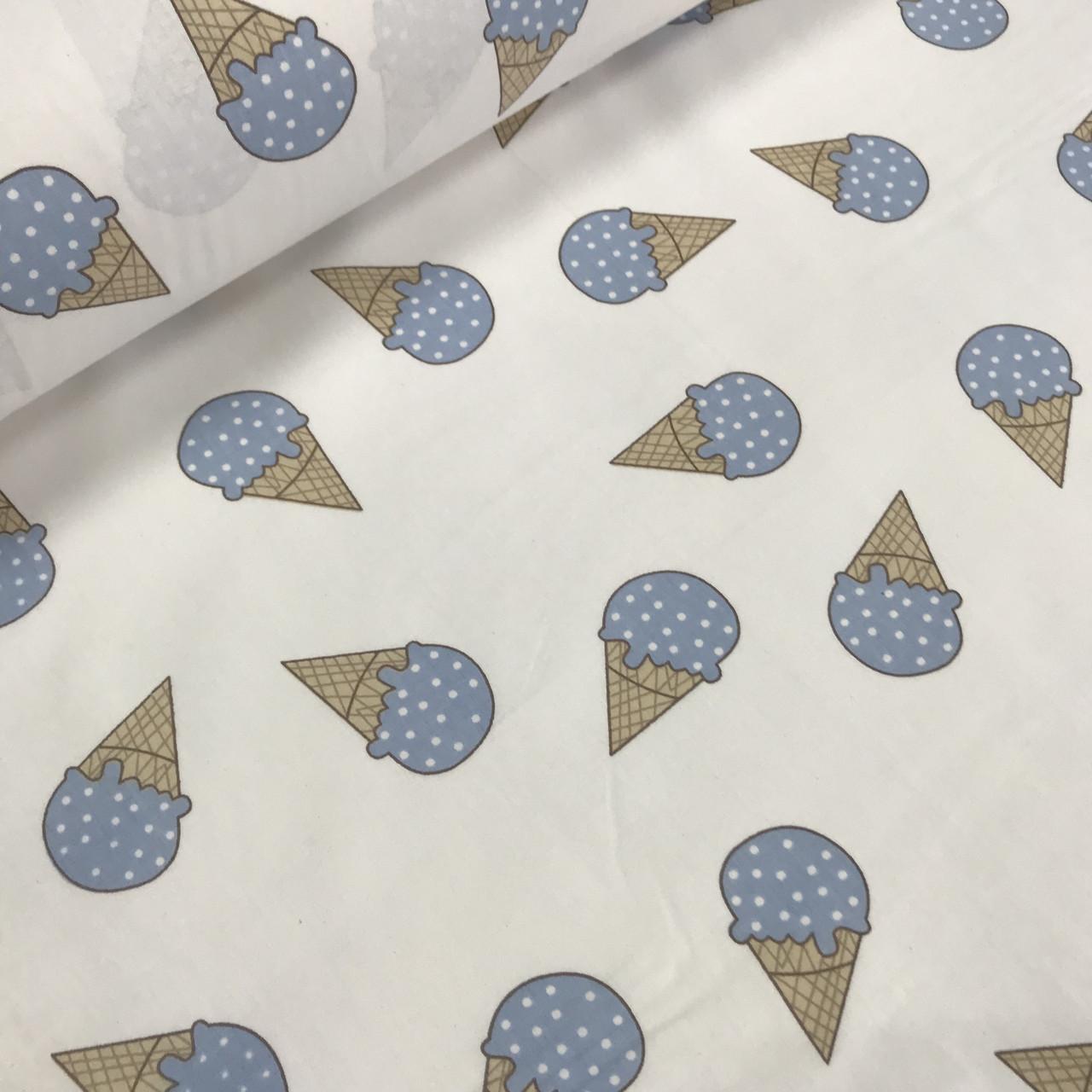 Ткань поплин, мороженое голубое на белом (ТУРЦИЯ шир. 2,4 м) № 33-41