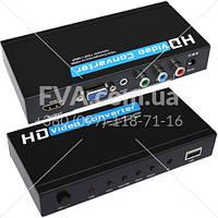 Конвертор VGA+ RGB в HDMI (гнездо VGA + 3 гнезда RCA - гнездо HDMI), MT-VIKI