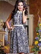 Трикотажное расклешенное платье-миди с узором (0731-0729-0730-0732 svt), фото 3