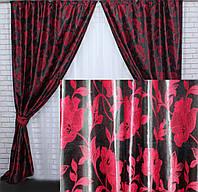 Шторы для гостиной плотные готовые черно-красные
