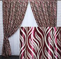 Готовый комплект плотных  штор вишневого цвета
