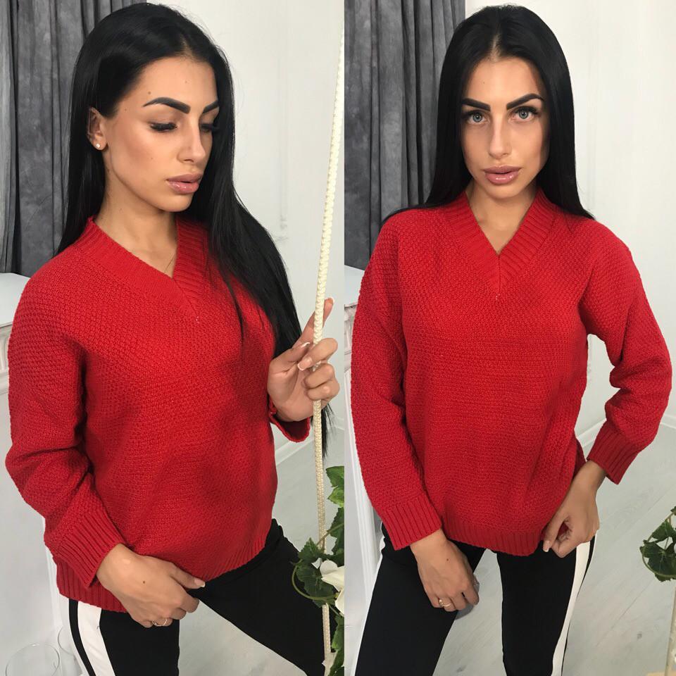 Женский свободный вязаный свитер