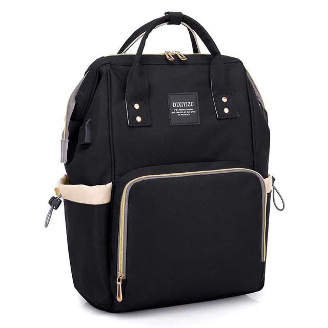 414f7c736b9d Рюкзак-сумка с USB портом для мамы, детских вещей, путешествий (черный)