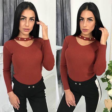 Женский вязаный осенний свитер, фото 2