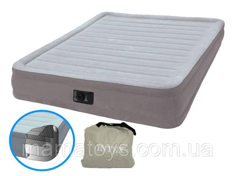 Надувная двуспальная кровать Intex 67768 Comfort 137-191-33 см, встроенный электронасос