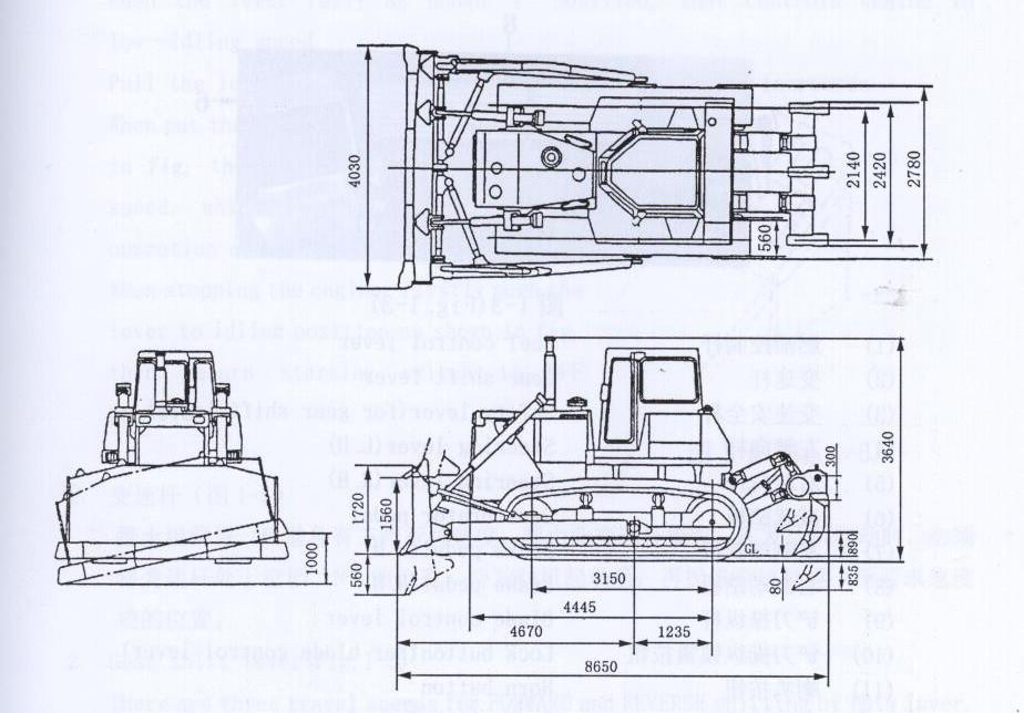 Габариты бульдозера Shantui SD32