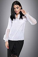 Нарядная белая блузка с прозрачными рукавами 44-50 размера, фото 1