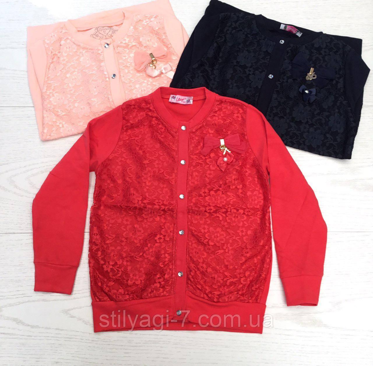 Кофта на пуговицах для девочки 6-12 лет красного,синего,розового цвета с кружевом оптом