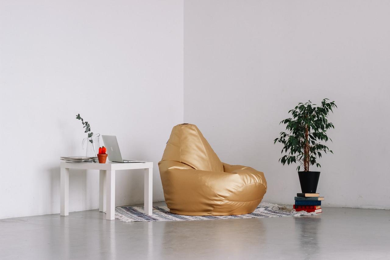 Золотое кресло-мешок груша 120*90 см из кож зама Зевс, фото 1