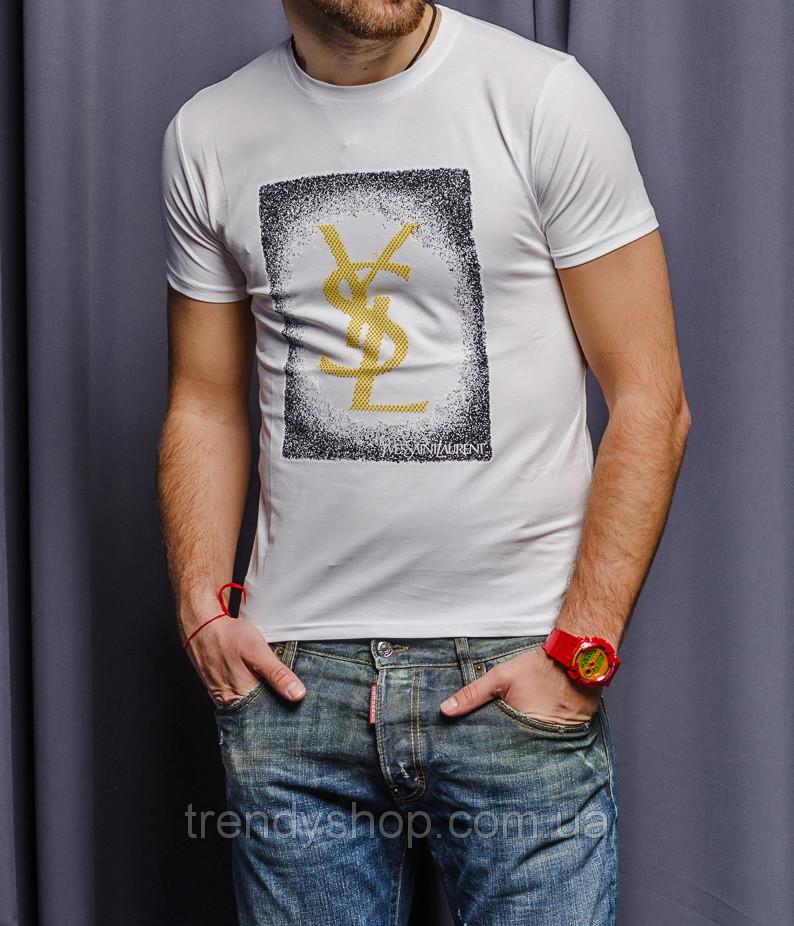 Мужская футболка YSL 11053 бело-желтаяя
