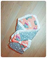 Красивый конверт одеяло на выписку для девочки в роддом для прогулок двухсторонний, фото 1