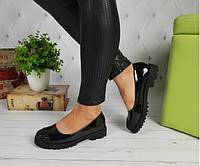 Туфли лоферы на тракторной платформе с носочком в блестках, фото 1