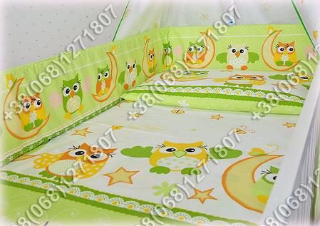 """Детское постельное белье в кроватку """"Карапуз"""" комплект 6 ед. (сова салатовый), фото 2"""