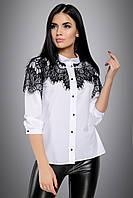 Модная белая рубашка с черным кружевом 42-50 размера, фото 1