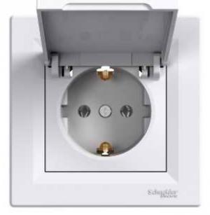 Розетка з кришкою з заземлюючим контактом Asfora Біла Schneider Electric