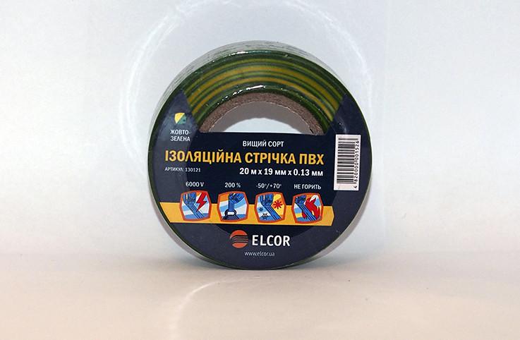 Ізоляційна стрічка ПВХ 10м х 15мм х 0,13мм  ELCOR жовто / зелена
