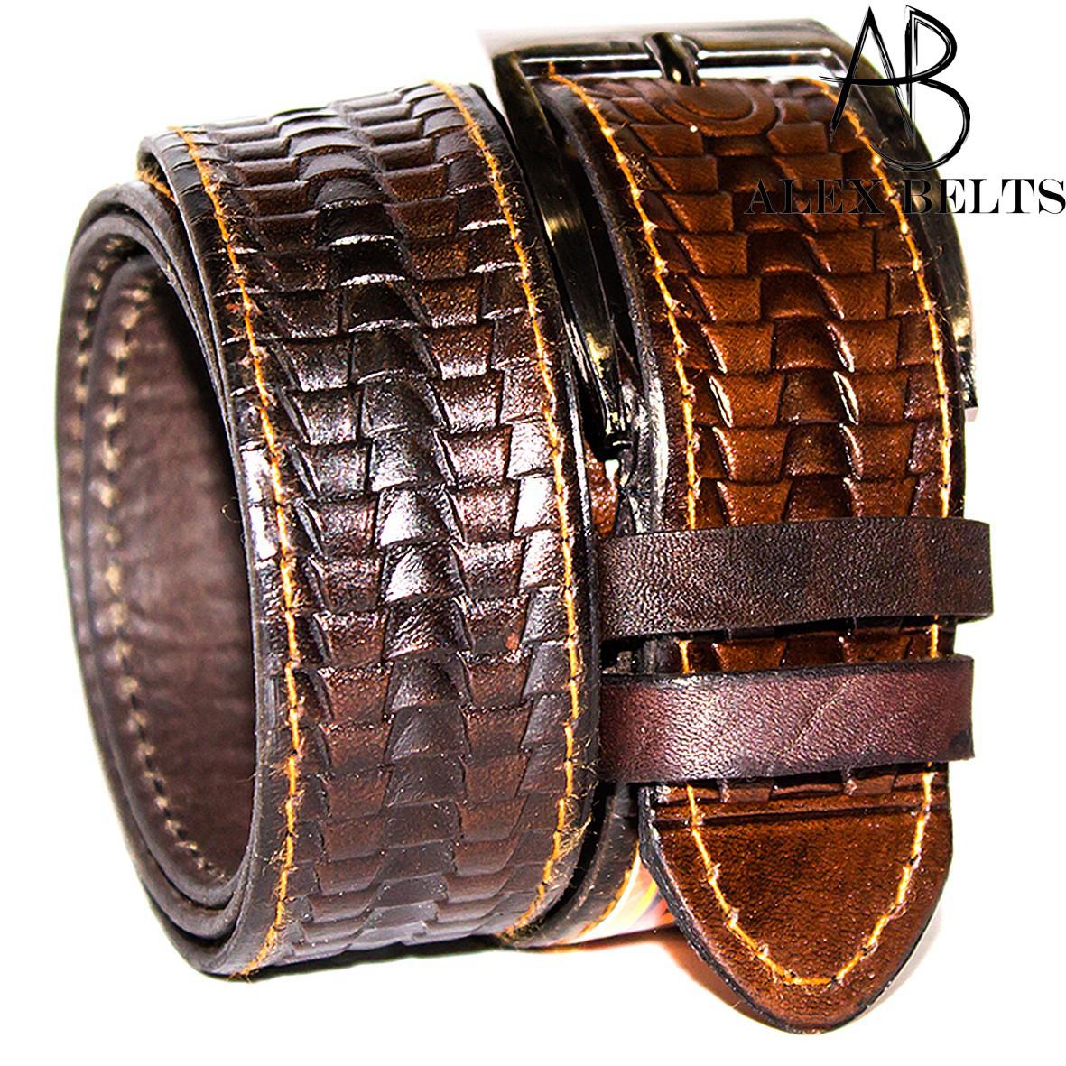 Ремень мужской брючный кожаный клеенный 35 мм - купить оптом в Одессе