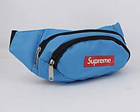 Сумка на пояс, грудь, через плечо, бананка Supreme 719-3 голубая, фото 1
