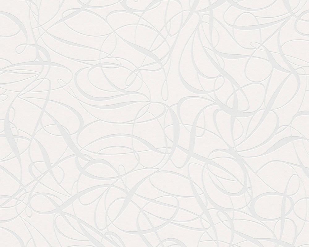 Обои белого цвета с абстрактным рисунком 132055.