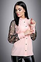 Модная блузка с прозрачными рукавами из сетки с вышивкой 44-50 размера розовая, фото 1