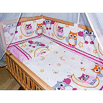 Бортики в детскую кроватку защита бампер Сова розовая, фото 3