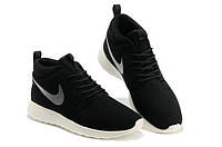 Кроссовки женские Nike Roshe run Leather High D235 черные