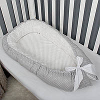 """Гнездышко-кокон для новорожденного """"Горошки"""", позиционер, люлька, babynest, переносная кроватка, бортики"""