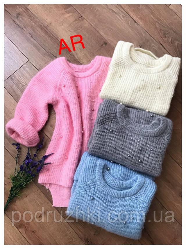 женский вязаный свитер ангора украшен бусинами 4 цвета продажа