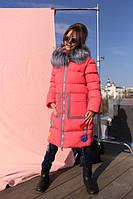 Зимнее пальто на девочку Рейни алый