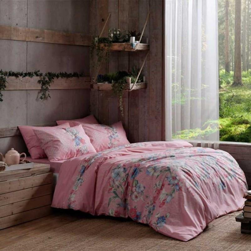 Постельное белье Tac ранфорс - Fleur розовый евро
