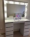Стол для макияжа с зеркалом с лампами, визажный стол с ящиками, фото 3