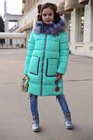 Зимнее пальто на девочку Рейни мята