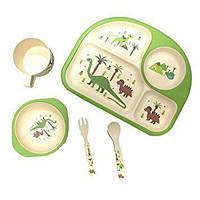 Детский набор посуды из бамбука с динозаврами