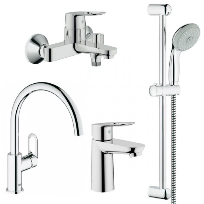 Набор смесителей для ванной GROHE BauLoop 123225K + кухонный