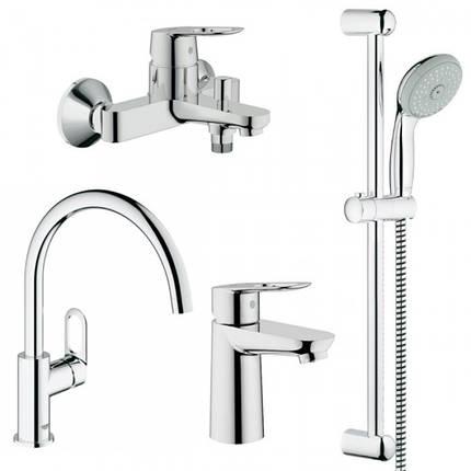 Набор смесителей для ванной GROHE BauLoop 123225K + кухонный, фото 2