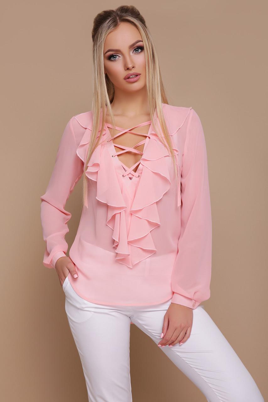 Женская нарядная блузка, персиковая, шифон