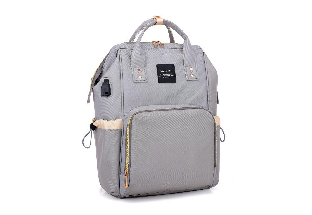 2f5f39499922 Рюкзак-сумка с USB портом для мамы, детских вещей, путешествий (серый)