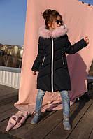 Зимнее пальто на девочку сафина, мех песец темно синий