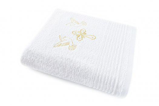 Крестильное полотенце белое с вышивкой золотом 70х140