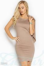 Демисезонное платье с кардиганом мини по фигуре без рукав бежевое, фото 2