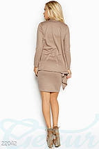 Демисезонное платье с кардиганом мини по фигуре без рукав бежевое, фото 3