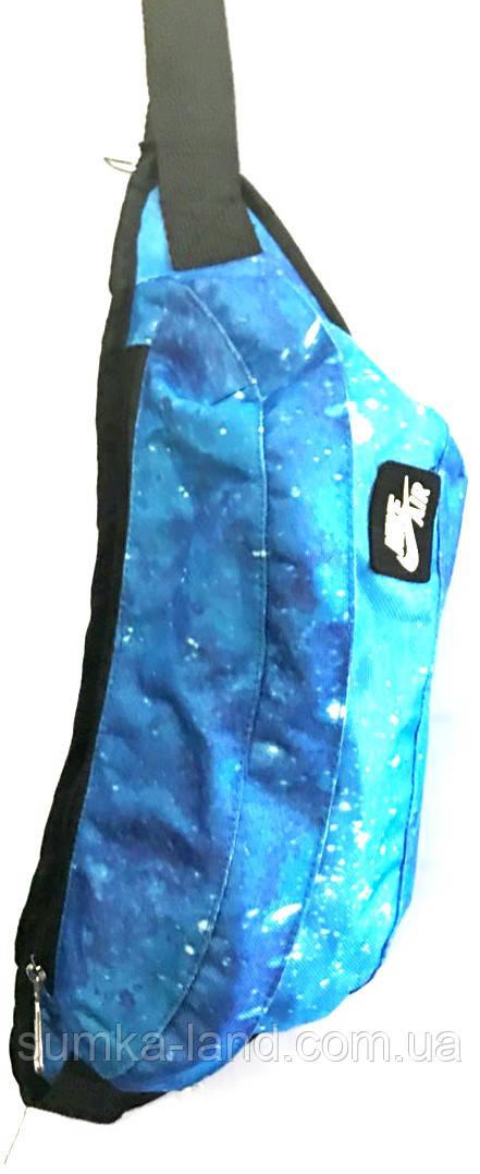 Поясная сумка бананка Nike Air из текстиля размером 42*15 см (голубой)