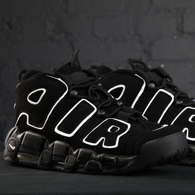 Мужские кроссовки Nike Air More Uptempo Black White (реплика)