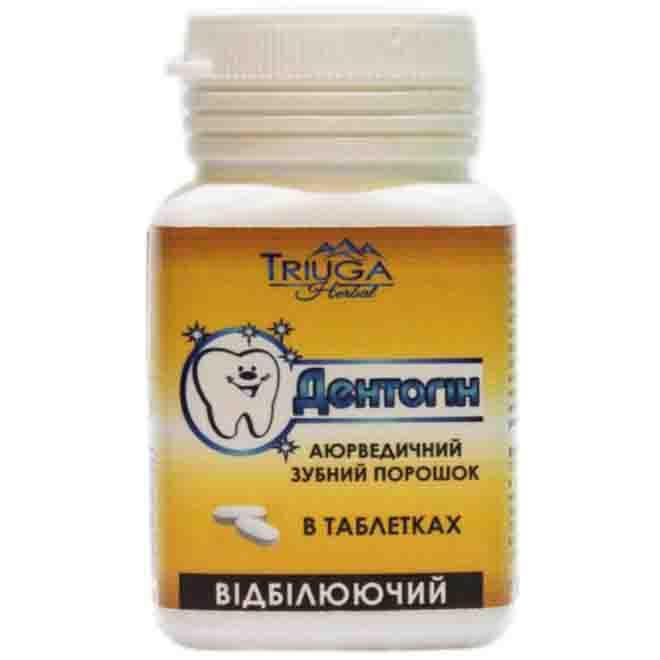 Зубной порошок Triuga Дентогин Отбеливащий в таблетках аюрведический 60 таблеток