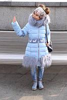 Зимнее теплое пальто на девочку Лин голубой