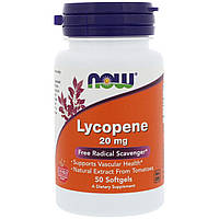 Ликопин (Lycopene), Now Foods, 20 мг, 50 гелевых капсул, фото 1